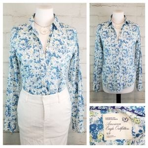 American Eagle S Blue White Floral Cotton Blouse